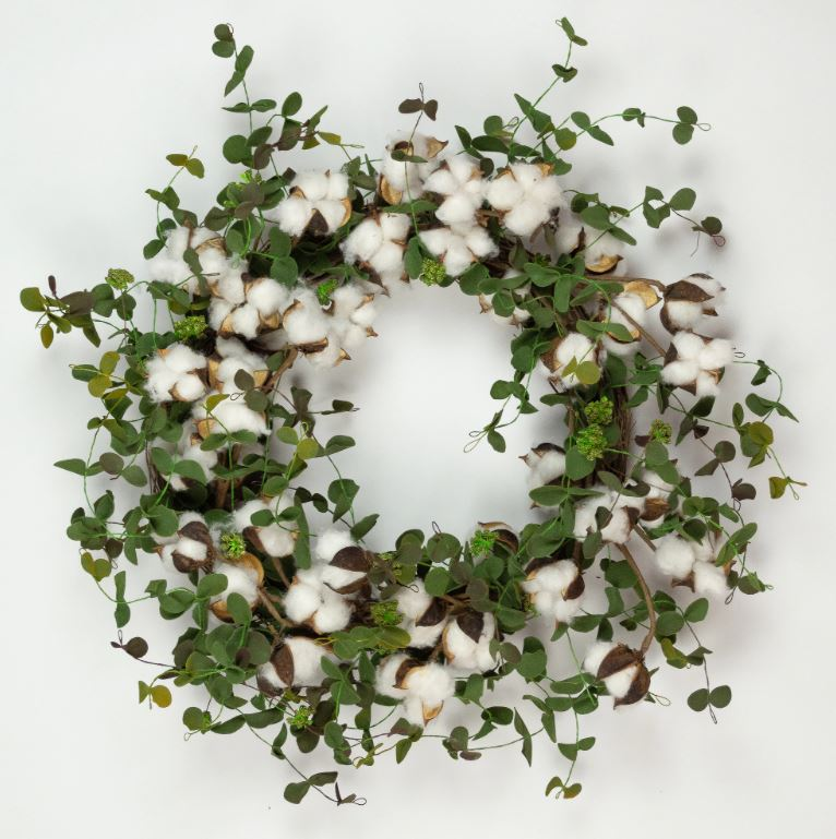 FAUX COTTON EUCALYPTUS WREATH - 20