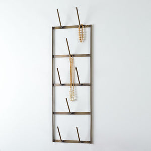 Narrow Wine Bottle Dryer Wall Rack - Antique Brass