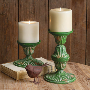 Set of Two Metal Candle Holders