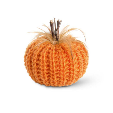 5 Inch Orange Crochet Pumpkin with Wood Stem and Feathers