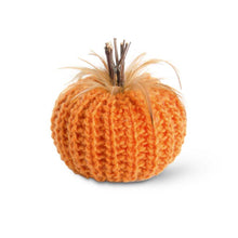 Load image into Gallery viewer, 7 Inch Orange Crochet Pumpkin with Wood Stem and Feathers