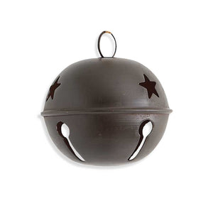 6 Inch Round Metal Bell Ornament with Star Cutout