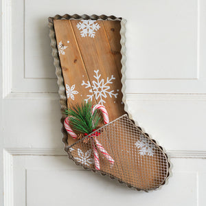 Metal Stocking with Pocket Wall Decor