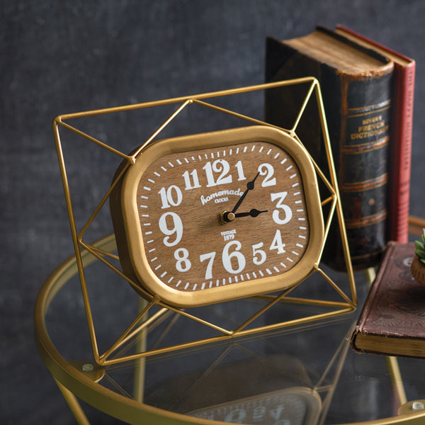 Metal Desk Clock with Wood Face