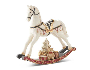 10.5 Inch Cream Resin Rocking Horse w/Gold Trim