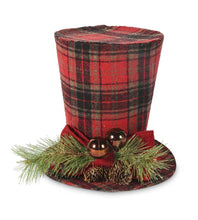 Load image into Gallery viewer, 7 Inch Black and White Tartan Top Hat With Pine Berry Accent