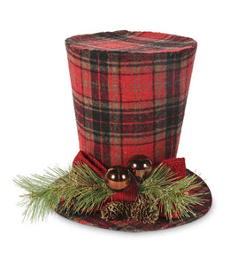 9 Inch Black and White Tartan Top Hat With Pine Berry Accent
