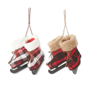 8 inch Assorted Wool Plaid Double Skate Ornaments w/Fur Trim (2 styles)