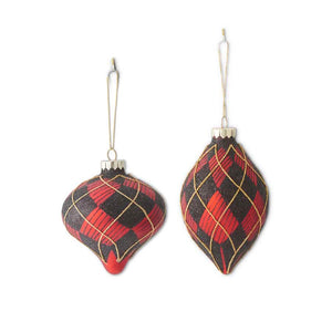 Assorted Glass Red/Black/Gold Plaid Onion and Teardrop Ornaments