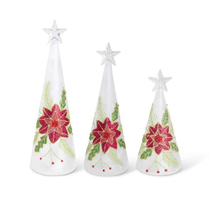 Set of 3 Battery Operated LED Christmas Trees with Poinsettia Detail