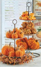Load image into Gallery viewer, 4 Inch Orange Crochet Pumpkin with Wood Stem and Feathers