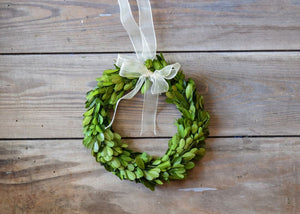 PRESERVED BOXWOOD WREATH - ROUND W/ RIBBON - 8""