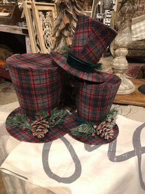 7 Inch Black and White Tartan Top Hat With Pine Berry Accent