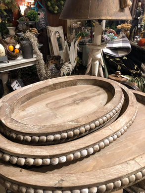 Wooden Oval Trays with Beaded Trim