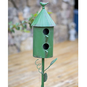 Two Story Morning Glory Birdhouse Garden Stake