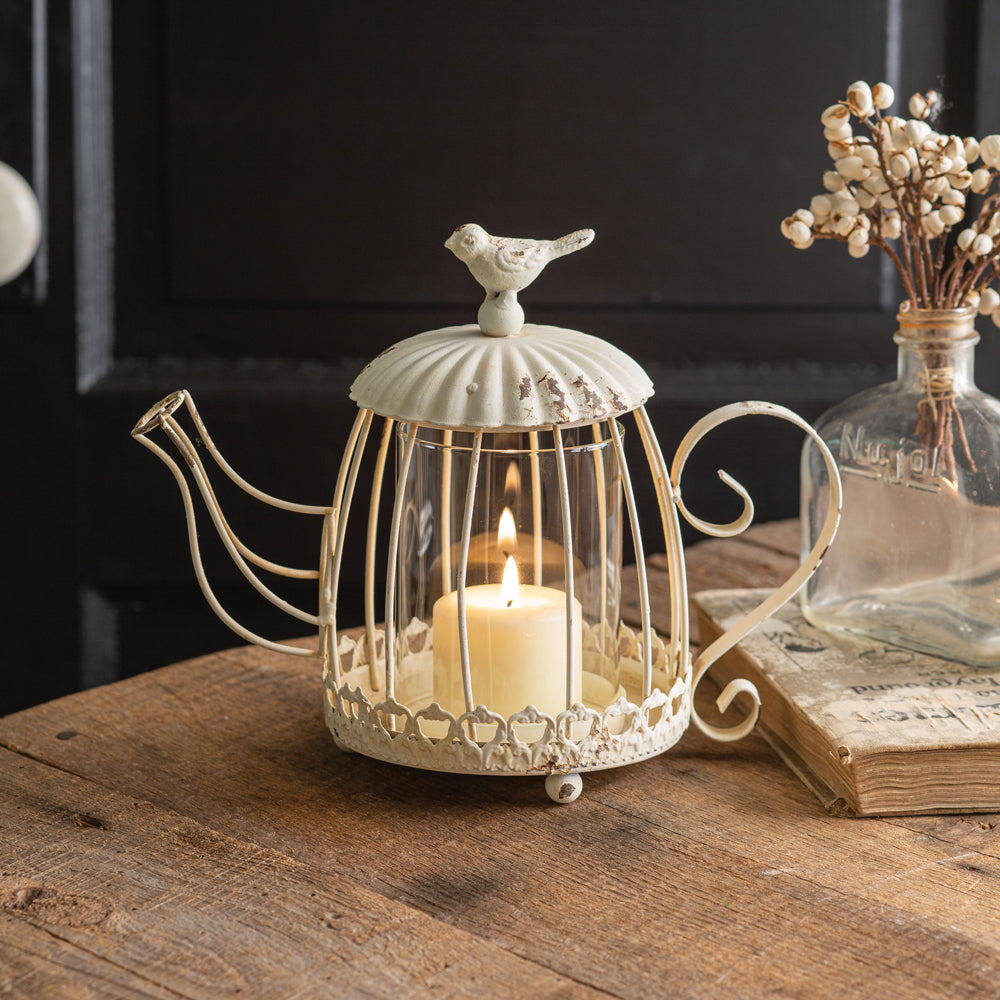 Tea Kettle Candle Holder with Bird