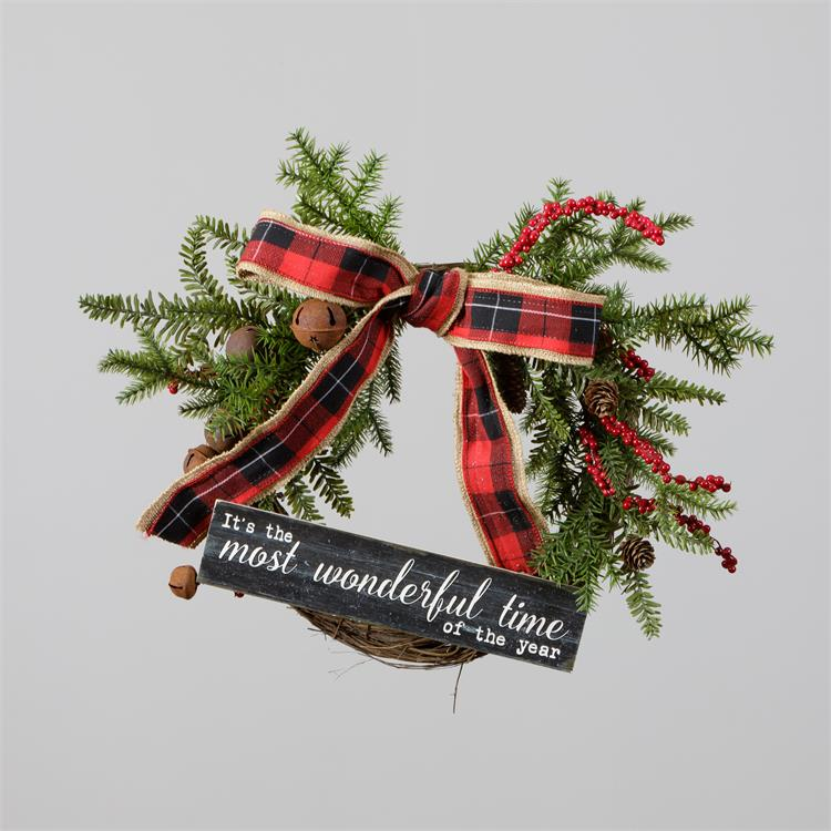 Wreath - Twig, Sign, Evergreens, Berries, Bow, Bells