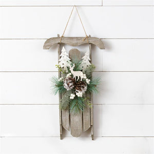 Wall Hanging - Wooden Sled, Winter Frosted Greens