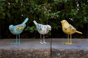 Vintage Birds with Flowers  - Set of 3