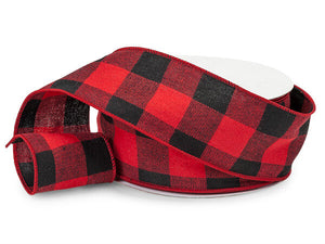 Red and Black Buffalo Plaid Wired Ribbon, 2-1/2