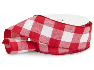 "Red & White Buffalo Plaid Wired Ribbon, 2-1/2""x25 yards"