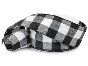 "Black and White Buffalo Plaid Wired Ribbons 2-1/2""x25 yards"