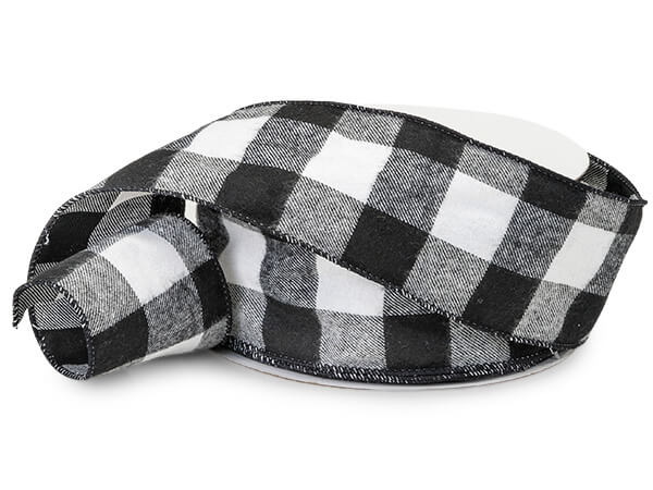 Black and White Buffalo Plaid Wired Ribbons 2-1/2
