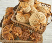 Load image into Gallery viewer, 7 Inch Brown Crochet Pumpkin with Wood Stem and Feathers