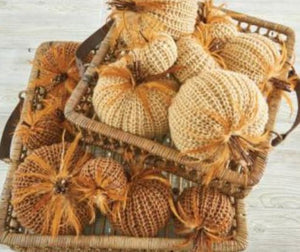 4 Inch Brown Crochet Pumpkin with Wood Stem and Feathers