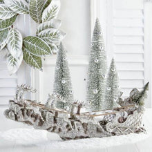 Load image into Gallery viewer, 24 Inch Silver Resin Santa Sleigh with Reindeer