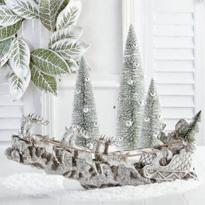 24 Inch Silver Resin Santa Sleigh with Reindeer