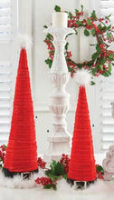 Load image into Gallery viewer, Set of 2 Red Velvet Santa Hat Cone Trees (Grad Sizes)