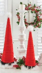 Set of 2 Red Velvet Santa Hat Cone Trees (Grad Sizes)