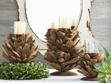 Load image into Gallery viewer, Driftwood Candle-holder with Glass 12.5 Inches