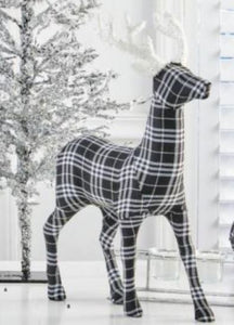 18 Inch Black and White Tartan Fabric Deer With Glitter Antlers