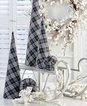 Load image into Gallery viewer, Set of 3 Black and White Tartan Fabric Cone Trees