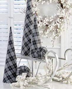 Set of 3 Black and White Tartan Fabric Cone Trees