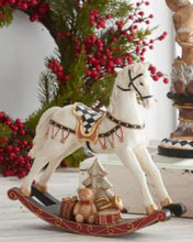 Load image into Gallery viewer, 10.5 Inch Cream Resin Rocking Horse w/Gold Trim