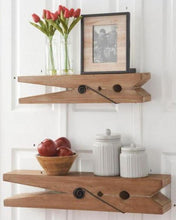 Load image into Gallery viewer, 30 Inch Natural Wood Clothespin Shelf