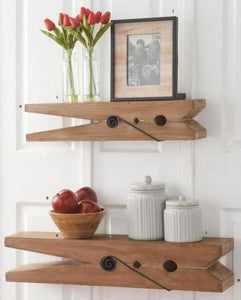 30 Inch Natural Wood Clothespin Shelf