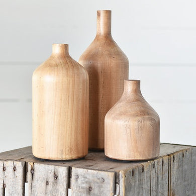 Set of 3  WOOD BOTTLES