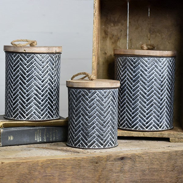 TIN CANNISTERS - Set of 3