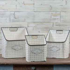 SET/ 3 WHITE BASKET WEAVE WALL CONTAINERS