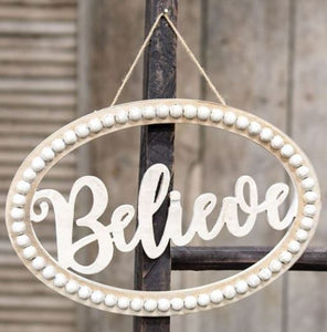 Distressed Beaded Wall Sign,