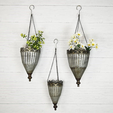 Set of 3 TIN HANG PLANTERS