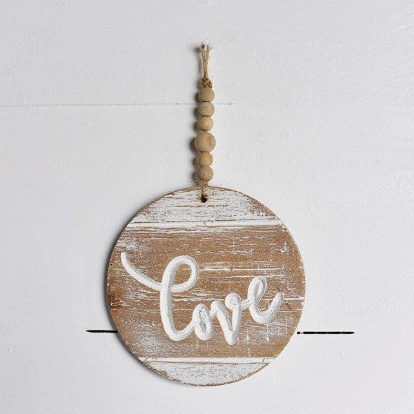 Wooden Love ornament with beads