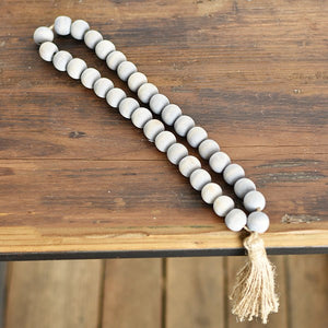 "17"" GREY BEAD WITH TASSLE"