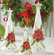 Load image into Gallery viewer, Set of 3 Battery Operated LED Christmas Trees with Poinsettia Detail