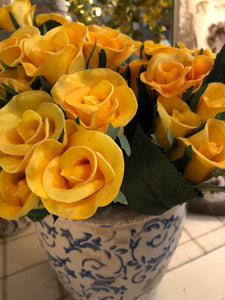 10 Inch Yellow Real Touch Mini Rose Bundle (7 Stems)