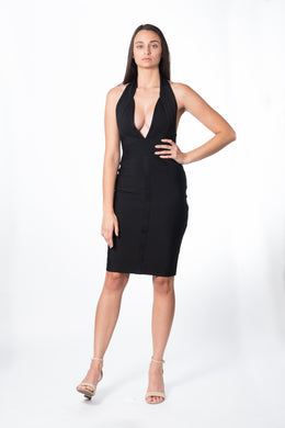 Savanna Black Halter Dress